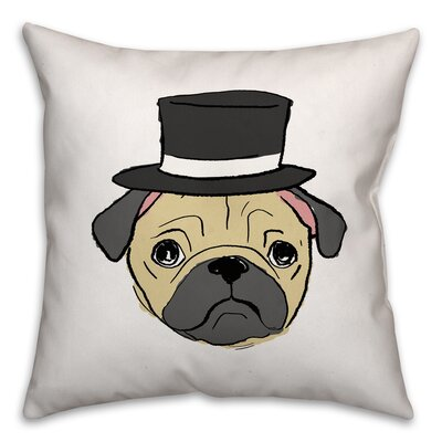 Pug with Top Hat Throw Pillow in , Cover Only Size: 16 x 16