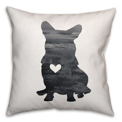 Nunlist Silhouette Corgi Throw Pillow in , Cover Only Color: Black/White, Size: 20 x 20