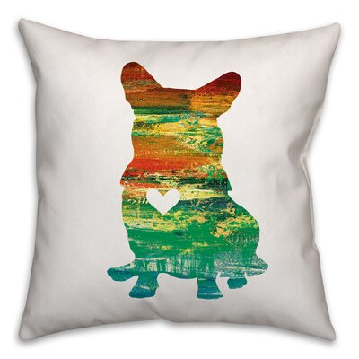 Nunlist Silhouette Corgi Throw Pillow in , Throw Pillow Color: Green/Orange/Yellow, Size: 16 x 16