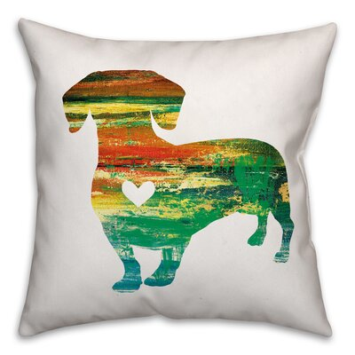 Nunlist Silhouette Dachshund Throw Pillow in , Throw Pillow Color: Green/Orange/Yellow, Size: 16 x 16