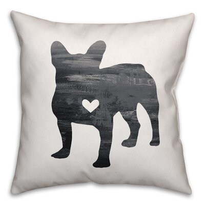 Nunlist Silhouette Frenchie Throw Pillow in , Throw Pillow Color: Black/White, Size: 16 x 16