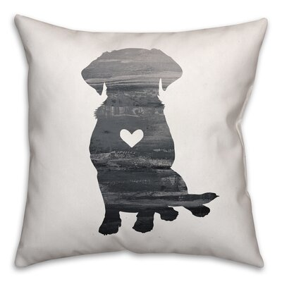 Nunlist Silhouette Lab Throw Pillow in , Cover Only Color: Black/White, Size: 16 x 16
