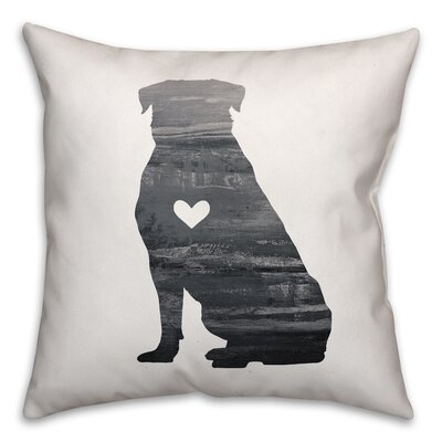 Nunlist Silhouette Rottweiler Throw Pillow in , Throw Pillow Color: Black/White, Size: 16