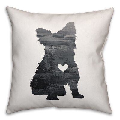 Nunlist Silhouette Yorkie Throw Pillow in , Cover Only Color: Black/White, Size: 16 x 16