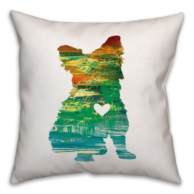 Nunlist Silhouette Yorkie Throw Pillow in , Cover Only Color: Green/Orange/Yellow, Size: 20 x 20
