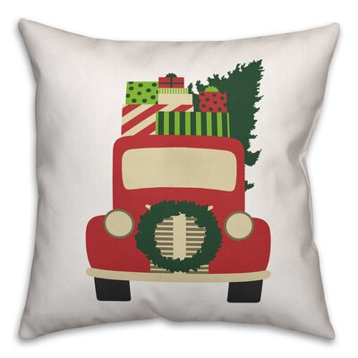 Vintage Christmas Truck Throw Pillow Size: 20 x 20, Type: Pillow Cover