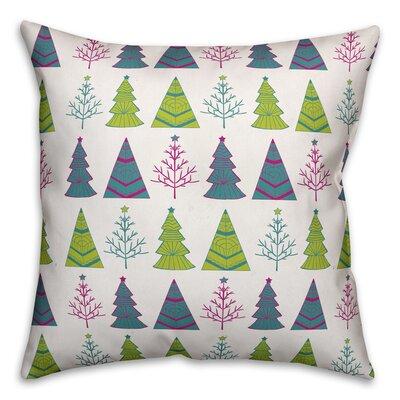 """Christmas Tree Pattern Throw Pillow Size: 16"""" x 16"""", Type: Throw Pillow THDA8083 43607949"""