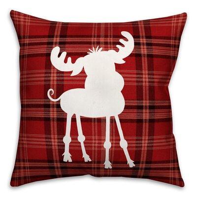 Fusain Plaid Baby Moose Throw Pillow Type: Throw Pillow