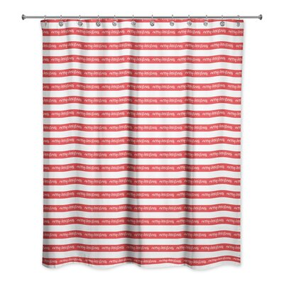 Merry Christmas Stripes Shower Curtain