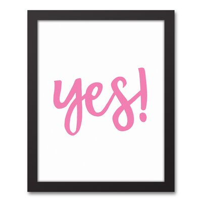 'Yes' Textual Art on Canvas Format: Black Framed, Size: 15.73