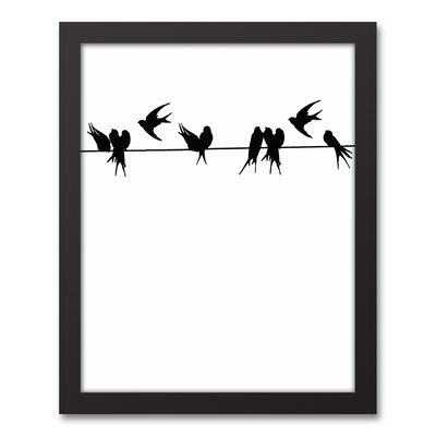 'Birds on a Wire' Framed Graphic Art Print on Canvas