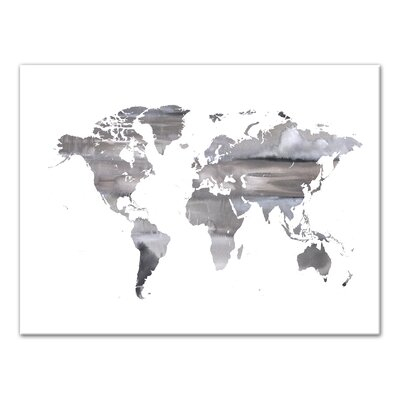 'White World Map' Watercolor Print on Canvas Size: 12