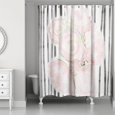 Alvardo Roses and Lines Shower Curtain