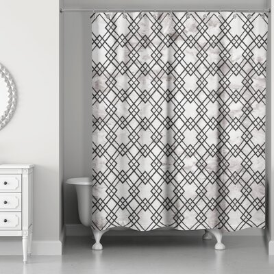 Nunez Geometric Marble Shower Curtain