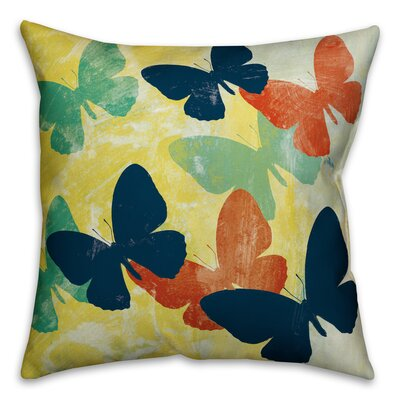 Butterfly Print Outdoor Throw Pillow Size: 18 x 18
