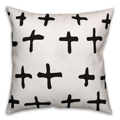 Nunley Bechard Hand-Drawn Swiss Cross Pillow Size: 16 x 16, Type: Pillow Cover