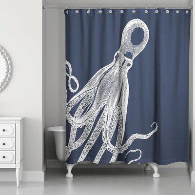 Saha Modern Octopus Shower Curtain Color: White/Navy