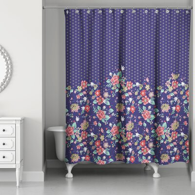 Beeler Floral and Dots Shower Curtain