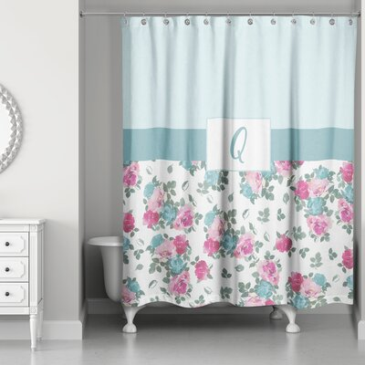 Graciano Floral Monogram Shower Curtain Letter: Q