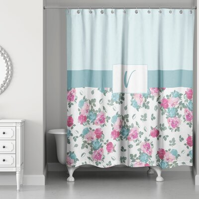 Graciano Floral Monogram Shower Curtain Letter: V