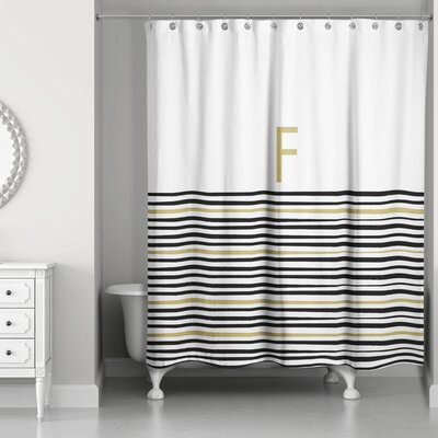 Pelagios Striped Monogram Shower Curtain Letter: F