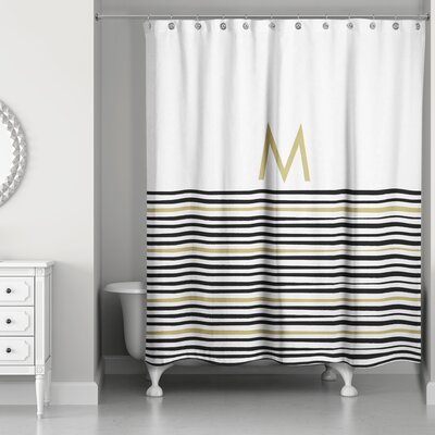 Pelagios Striped Monogram Shower Curtain Letter: M