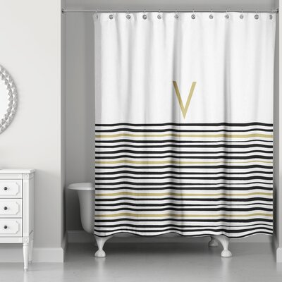 Pelagios Striped Monogram Shower Curtain Letter: V