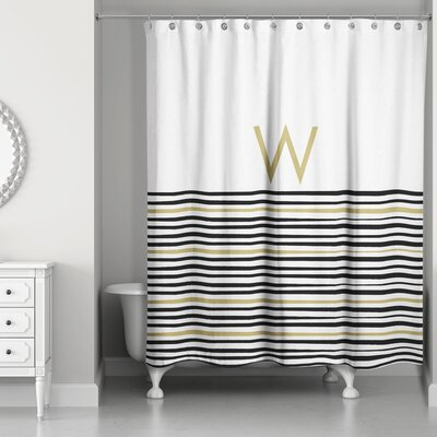 Pelagios Striped Monogram Shower Curtain Letter: W