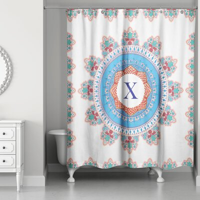 Ireland Monogram Medallion Shower Curtain Letter: X