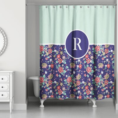 Crossman Monogram Floral Shower Curtain Letter: R