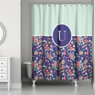 Crossman Monogram Floral Shower Curtain Letter: U