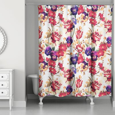Pinkston Floral Pansy Print Shower Curtain