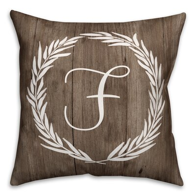 Brompton Wreath Initial Throw Pillow Letter: F