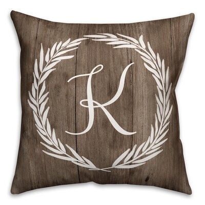 Brompton Wreath Initial Throw Pillow Letter: K