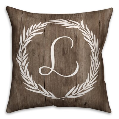 Brompton Wreath Initial Throw Pillow Letter: L