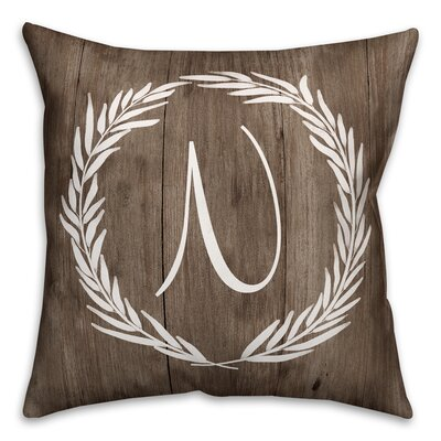 Brompton Wreath Initial Throw Pillow Letter: N