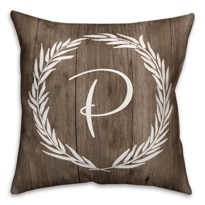 Brompton Wreath Initial Throw Pillow Letter: P