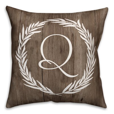 Brompton Wreath Initial Throw Pillow Letter: Q
