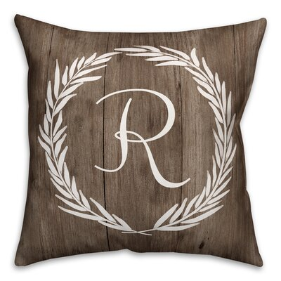 Brompton Wreath Initial Throw Pillow Letter: R