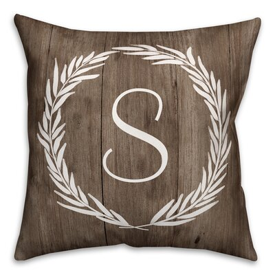 Brompton Wreath Initial Throw Pillow Letter: S