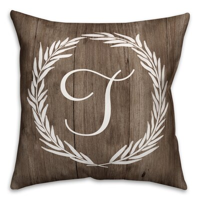 Brompton Wreath Initial Throw Pillow Letter: T
