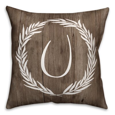 Brompton Wreath Initial Throw Pillow Letter: U