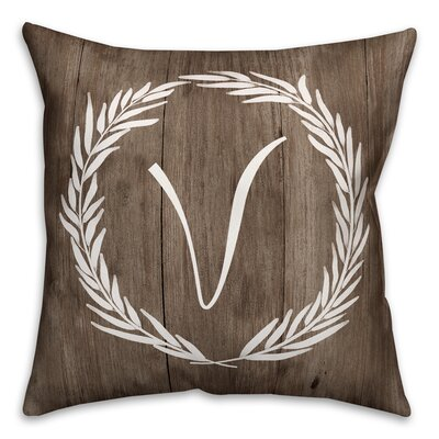 Brompton Wreath Initial Throw Pillow Letter: V