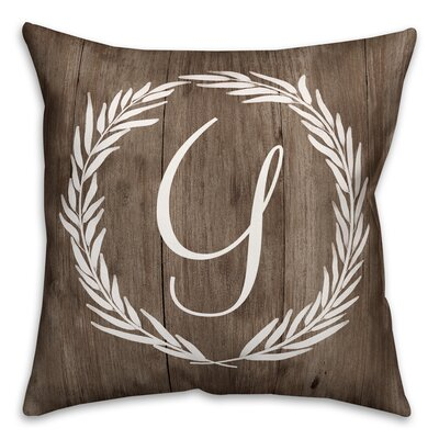Brompton Wreath Initial Throw Pillow Letter: Y