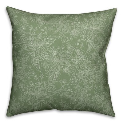 Kepner Paisley Throw Pillow Color: Green, Size: 16 x 16, Type: Pillow Cover
