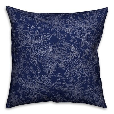 Kepner Paisley Throw Pillow Color: Navy, Size: 16 x 16, Type: Lumbar Pillow