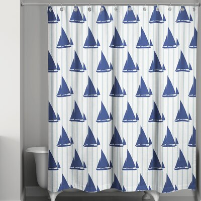 Joe Boat Stripes Shower Curtain