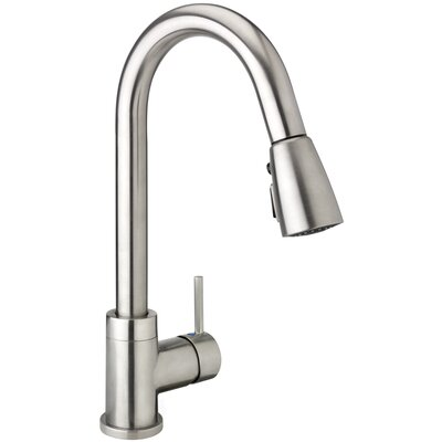 H2flo Single Handle Pull Down Standard Kitchen Faucet Finish: Brushed Nickel