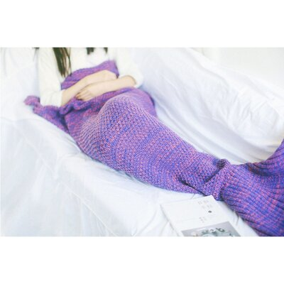 Nicklaus Mermaid Tail Knit Crochet Sleeping Blanket Color: Purple