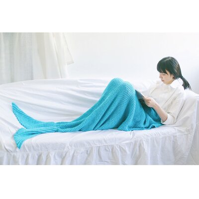 Nicklaus Mermaid Tail Knit Crochet Sleeping Blanket Color: Blue